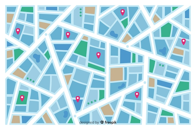 Colored city map indicating street routes Free Vector