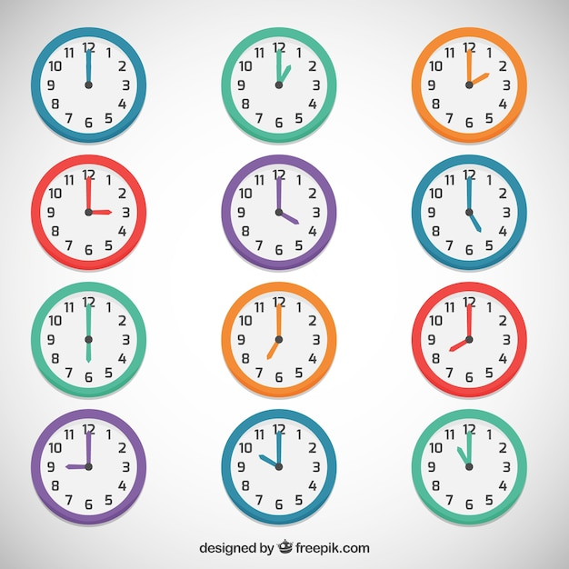 Colored clocks Free Vector