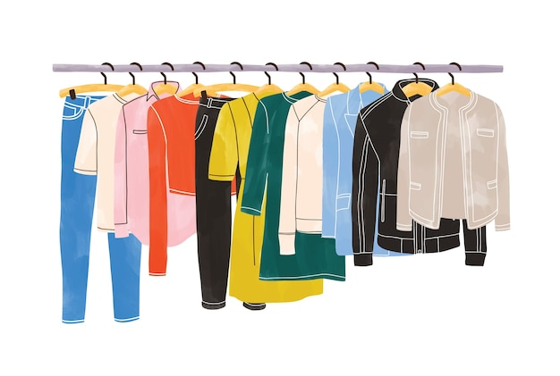 白い背景で隔離の衣服ラックまたはレールのハンガーにぶら下がっている色の服やアパレル。衣類の整理または保管。クローゼットやワードローブの内部空間。手描きイラスト Premiumベクター