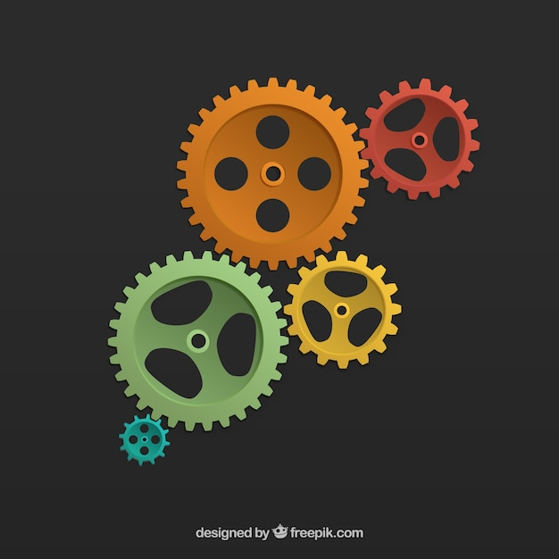Colored cogwheels background Free Vector