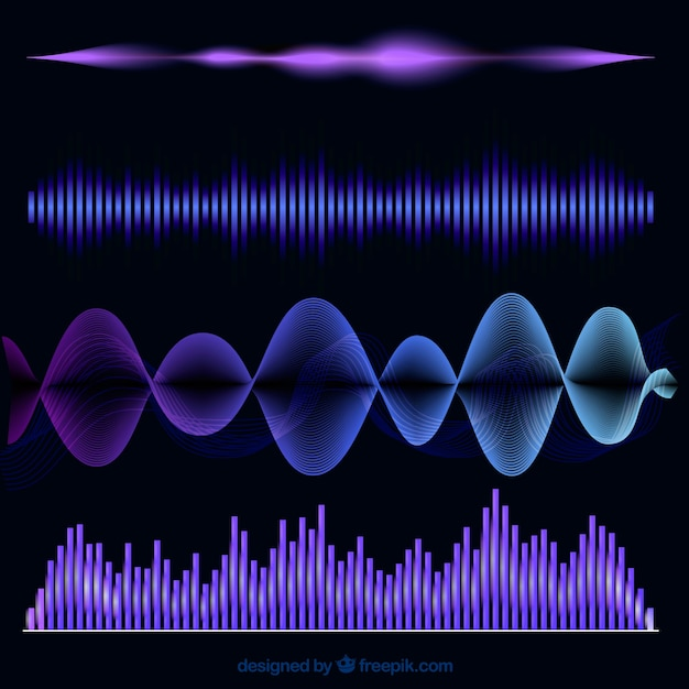 Colored collection of four abstract sound waves Free Vector