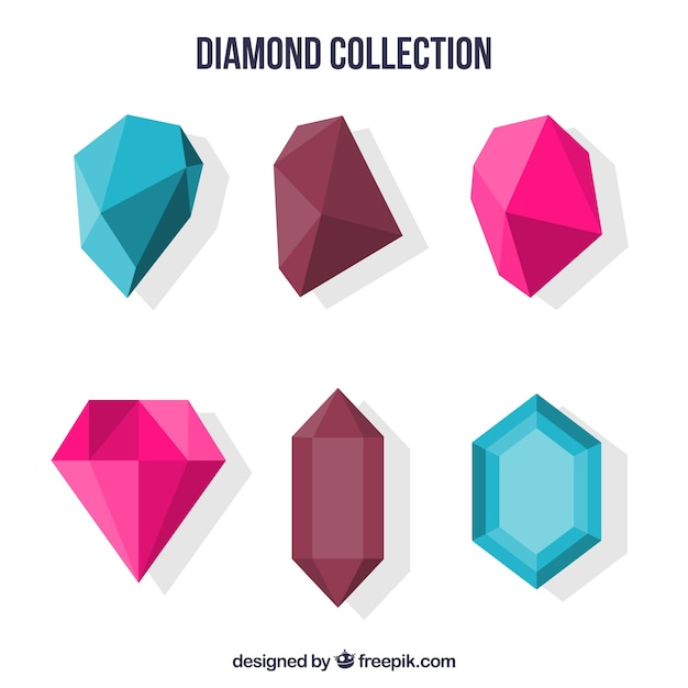 Colored collection of flat gemstones Free Vector