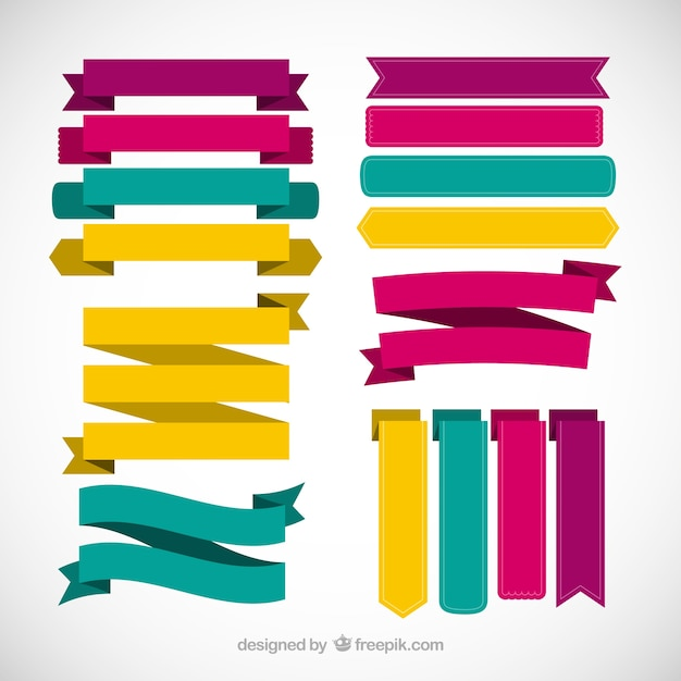 colored collection of flat ribbons vector | free download, Powerpoint templates