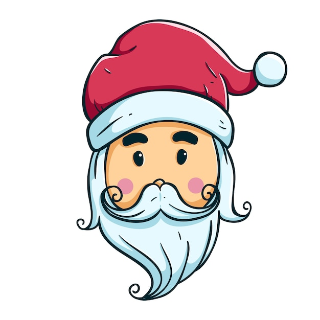 colored cute santa head with outline premium vector