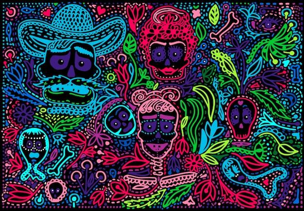 Colored day of the dead sugar skull with ornament Premium Vector