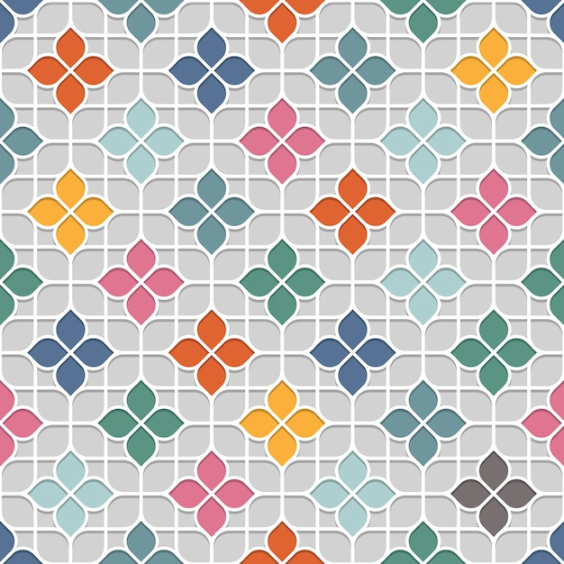 Colored delicate seamless flower pattern in oriental style Premium Vector