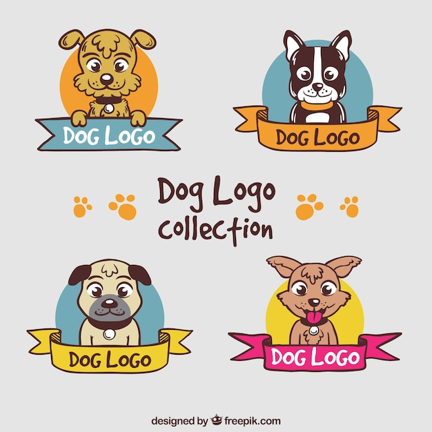 Colored dog logos with decorative ribbons Free Vector