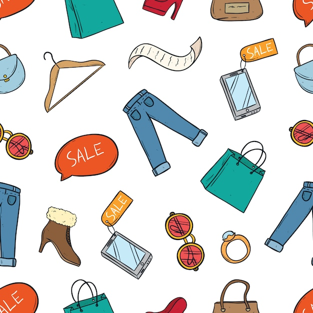 Colored doodle of shopping time elements in seamless pattern Premium Vector