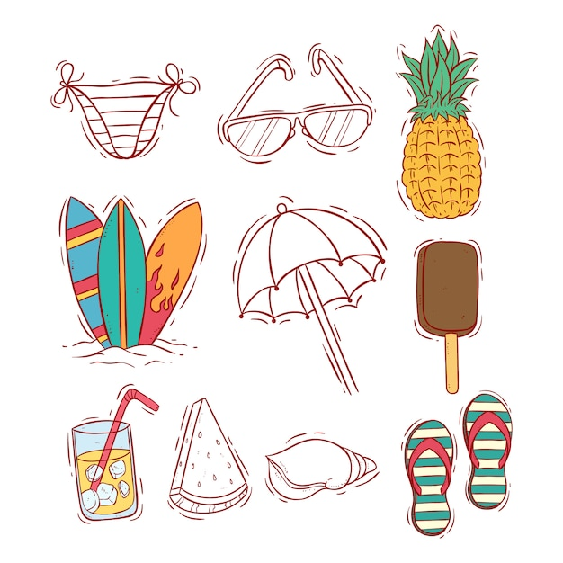Colored doodle summer icons collection Premium Vector