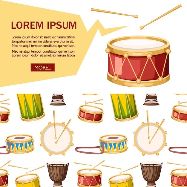 Цветные барабаны с набором иконок голени. Premium векторы