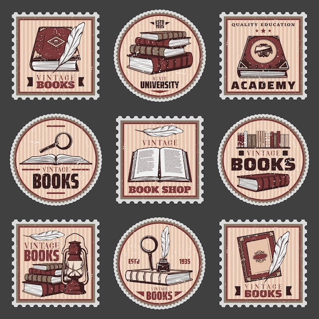 Colored education and bookstore stamps set with different books magnifier feather inkwell lantern in vintage style isolated Free Vector