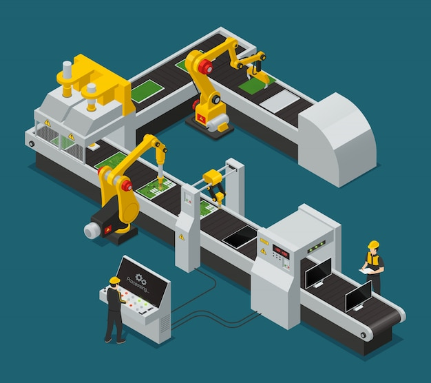 Colored electronics factory equipment staff isometric composition with workflow at the factory Free Vector
