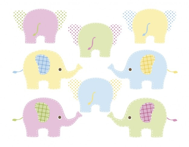 Colored elephants Free Vector