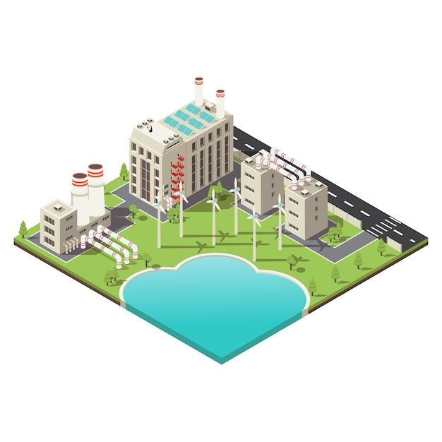 Colored factory territory isometric Free Vector