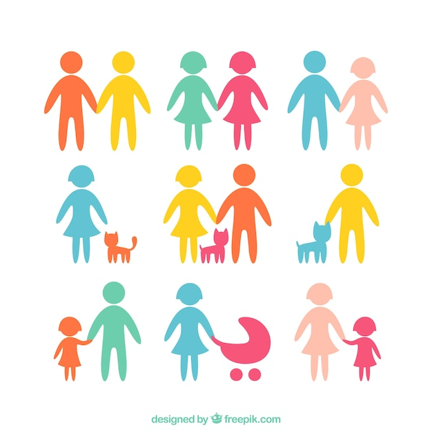 Colored family icons Premium Vector
