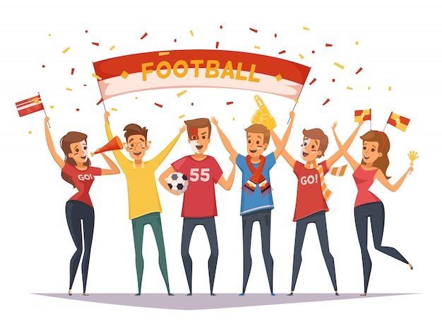 Colored fan rooter buff group composition with flags and banners girls and boys Free Vector