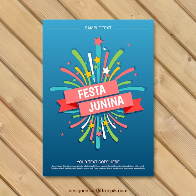 Colored fireworks festa junina invitation  Free Vector