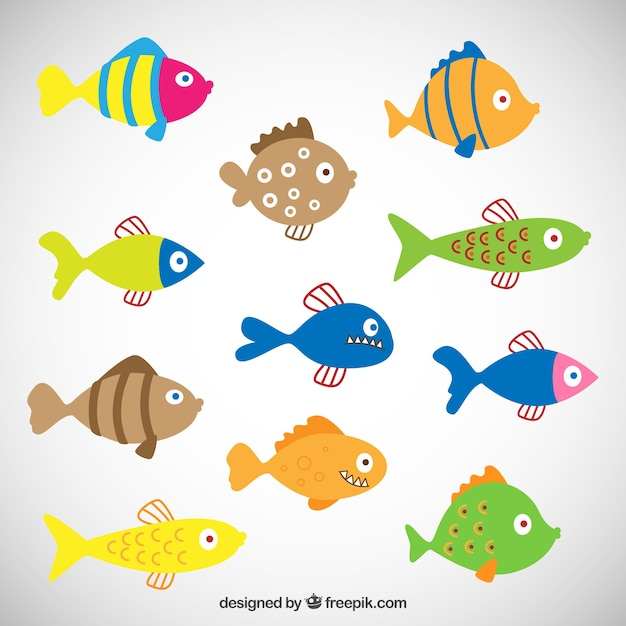 Colored Fishes Vector