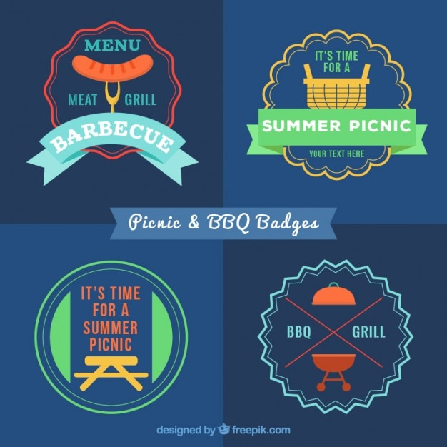 Colored flat bbq and picnic badges in vintage\ style