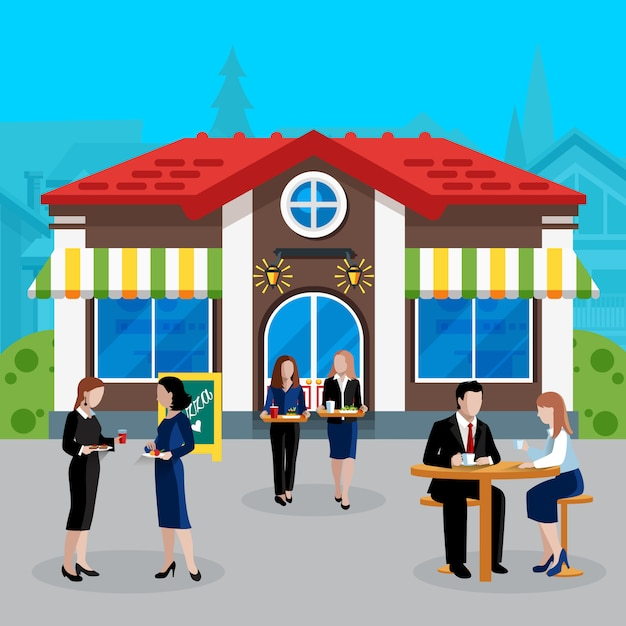 Colored flat business lunch people concept Free Vector