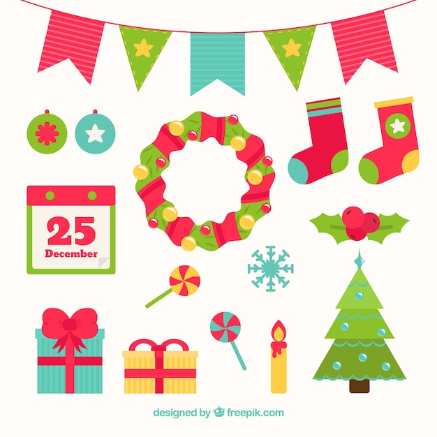 Colored Flat Christmas Elements Vector Free Download