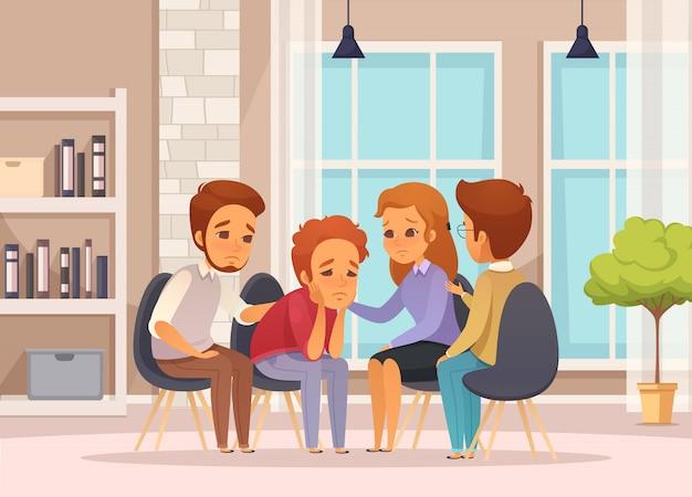 Composição de cartoon de terapia de grupo plana e colorida com sessão de psicoterapia em sala de aula Vetor grátis