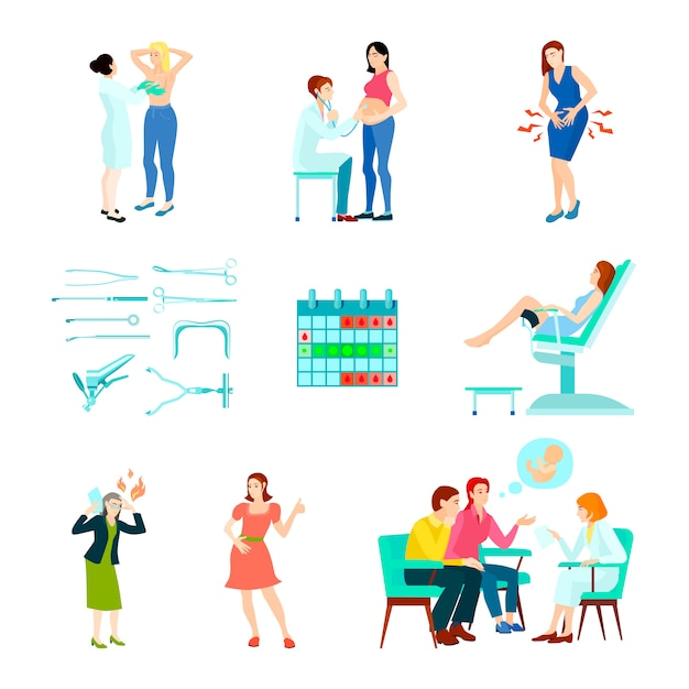 Colored flat and isolated gynecologist gynecology icon set with woman at the doctors reception Free Vector