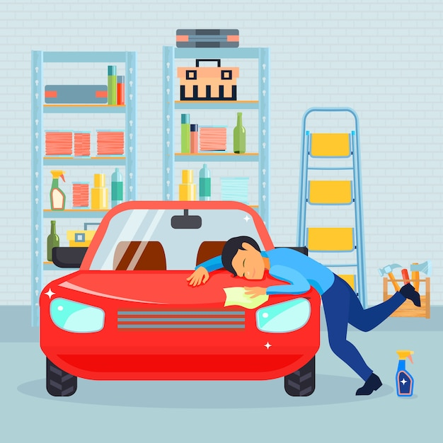 Colored flat male love his car composition with man washes his car in the garage Free Vector