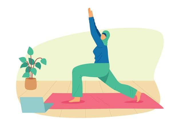 컬러 평면 스타일 그림입니다. 히잡을 입은 소녀가 집에서 요가에 종사하고 있습니다. 집에서 온라인으로 운동하는 무슬림 여성. 매트에 스포츠웨어에 소녀는 아사나에 서 프리미엄 벡터