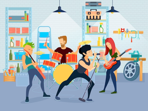 Colored flat young musicians composition four people playing guitar with band in garage Free Vector