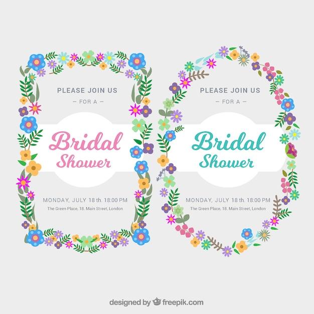 colored floral bridal shower frames in flat design free vector