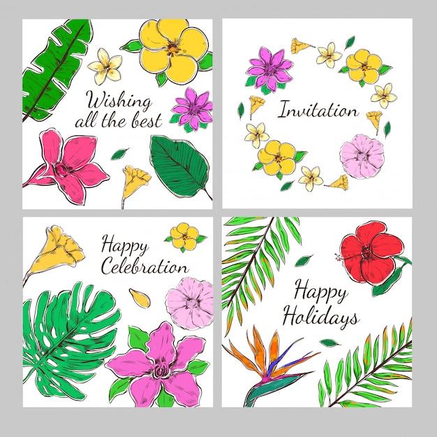 Set di carte di invito decorativo floreale colorato Vettore gratuito