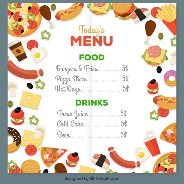 Colored Food Menu Vector | Premium Download