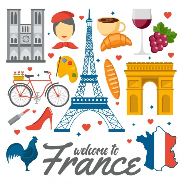 Colored France Elements Vector Free Download