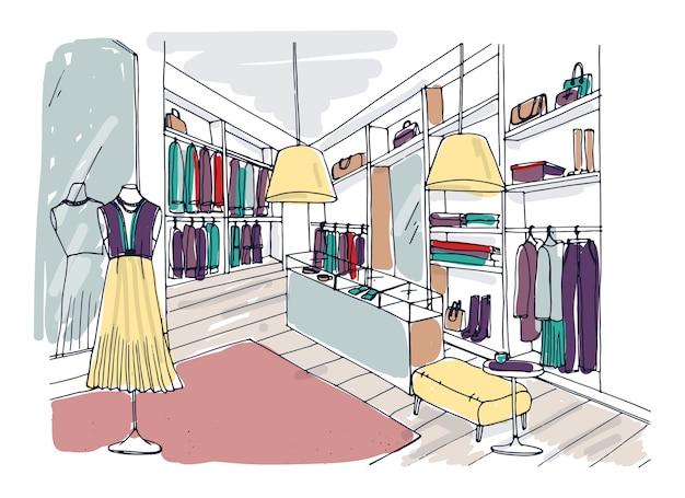 Цветной рисунок от руки интерьера бутика модной одежды с мебелью, витринами, манекенами, одетыми в модную одежду Premium векторы