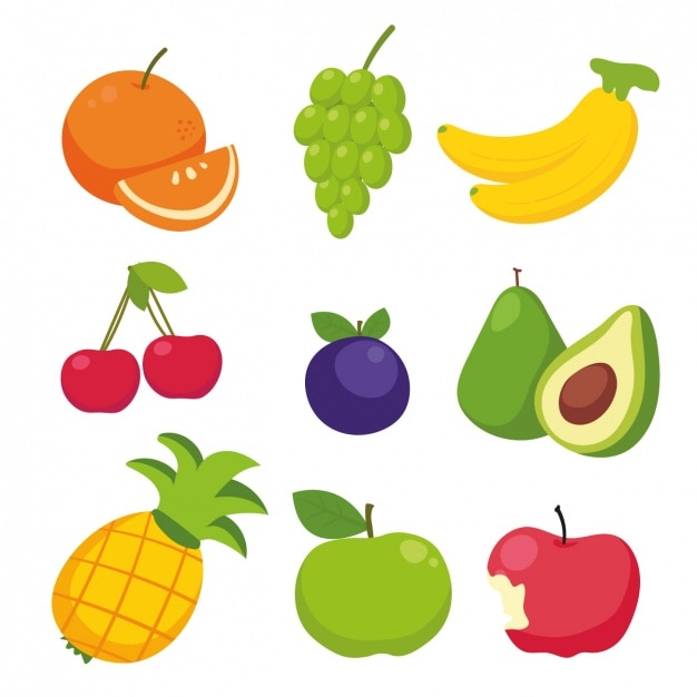 Colored fruit collection Free Vector