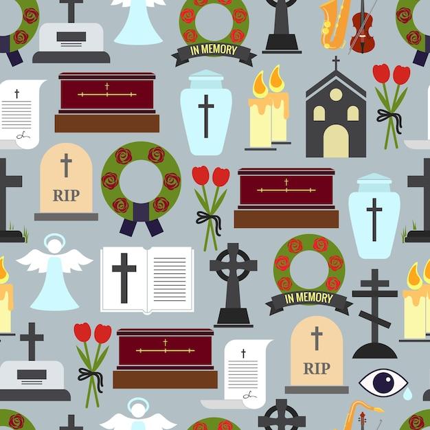 Funerali colorati e illustrazione di modelli di cerimonia luttuosa Vettore gratuito