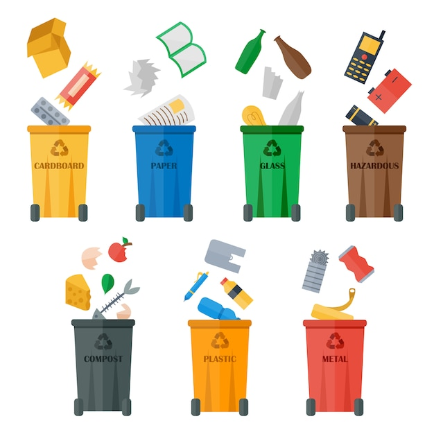 Colored garbage cans with waste types vector. Premium Vector