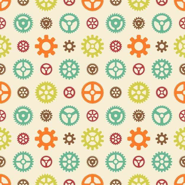 Colored gears seamless pattern Premium Vector