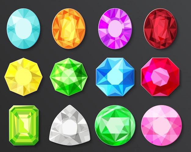 Набор цветных драгоценных камней Premium векторы
