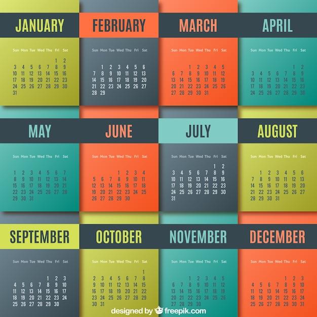 Colored geometric calendar Premium Vector