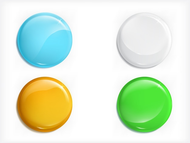 Colored glossy round buttons realistic vector set Free Vector