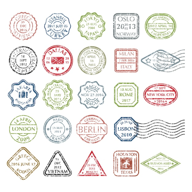 Colored grungy postal stamps set in different shapes from 24 city in the world Premium Vector