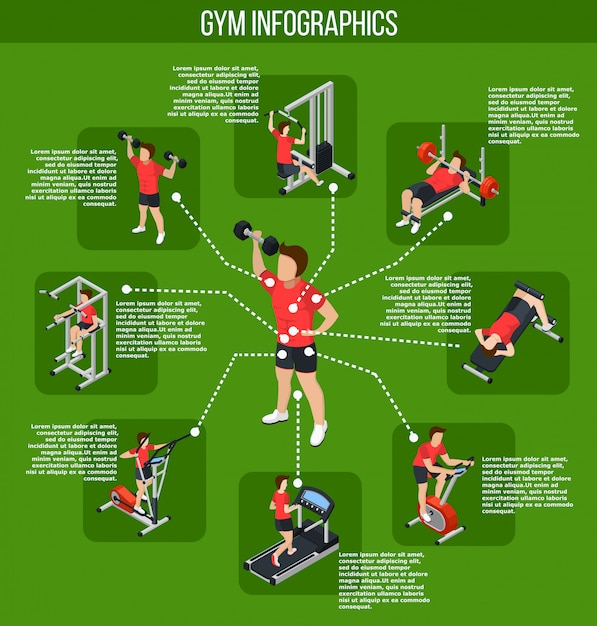 Colored gym infographics Free Vector