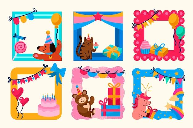 Cornice colorata collage compleanno disegnato a mano Vettore gratuito