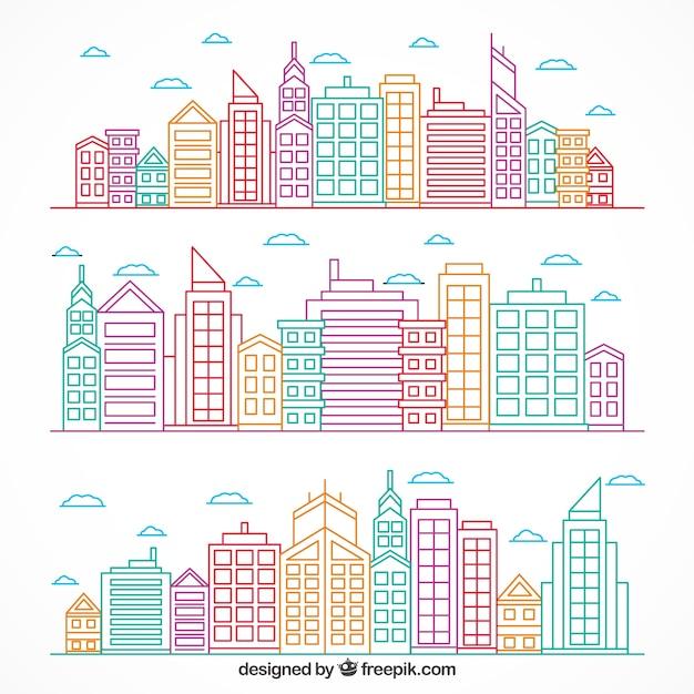 設定色の手描き現代の都市 無料ベクター