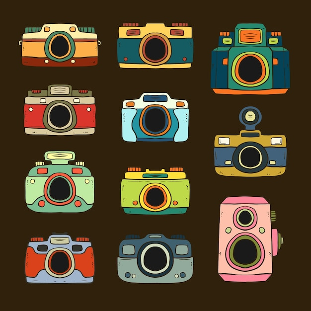 Colored hand drawn retro cameras