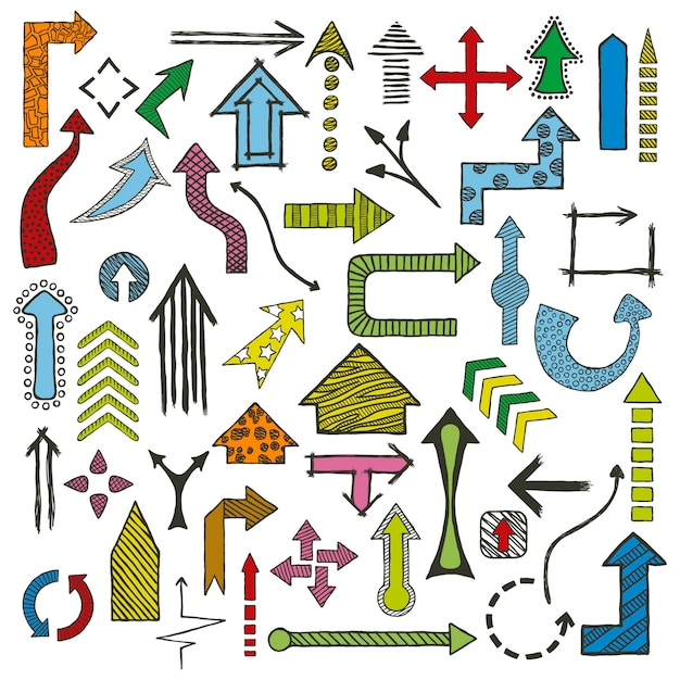 Colored hand drawn sketched arrows in different shapes set. Premium Vector
