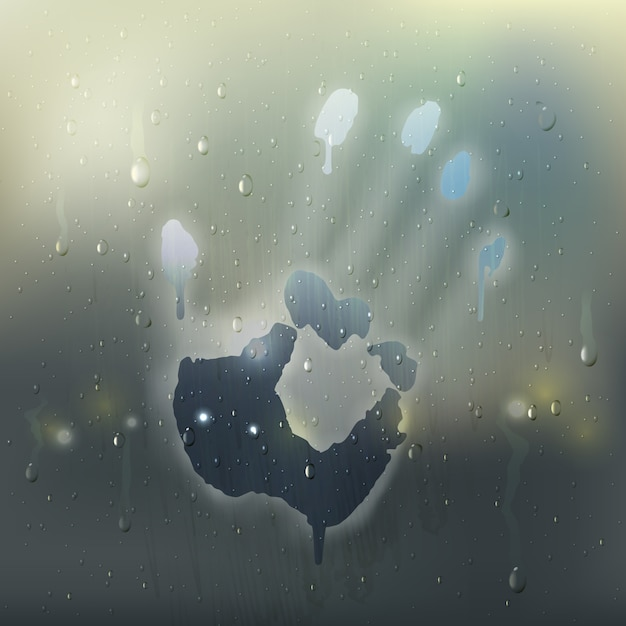 Colored hand on misted glass realistic composition with rain stains and handprint on the window Free Vector