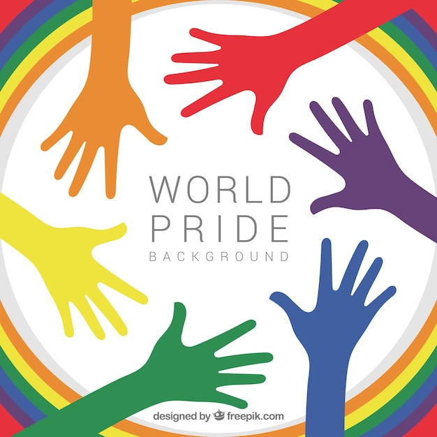 Colored hands of world pride day background Free Vector